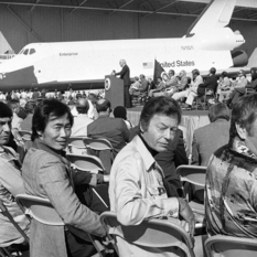 Leonard Nimoy, George Takei, DeForest Kelly and James Doohan at the unveiling of the shuttle prototype Enterprise
