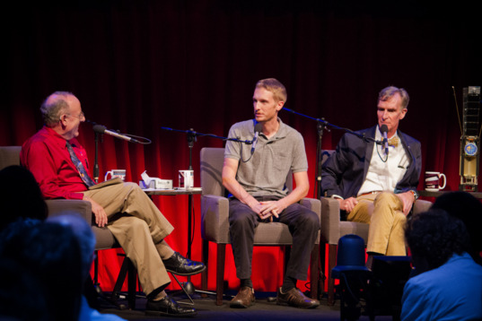 Mat Kaplan, Jason Davis, and Bill Nye at Planetary Radio Live's LightSail event