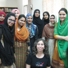 A few of the many bright female graduate students in Pakistan in STEM fields