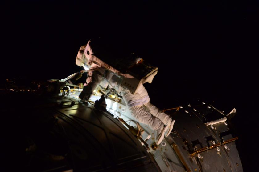 Terry Virts during spacewalk