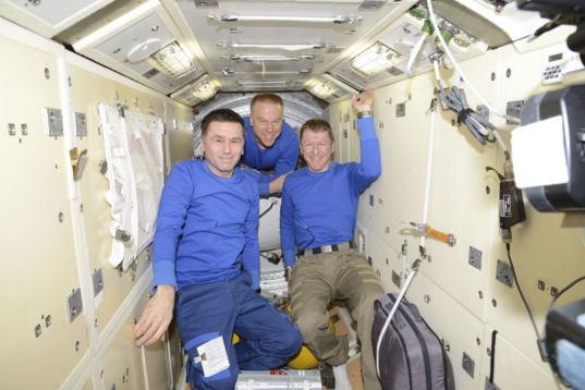 Expedition 47 crew boards Soyuz TMA-19M