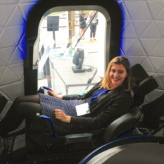 Harriet Brettle inside the Blue Origin crew capsule