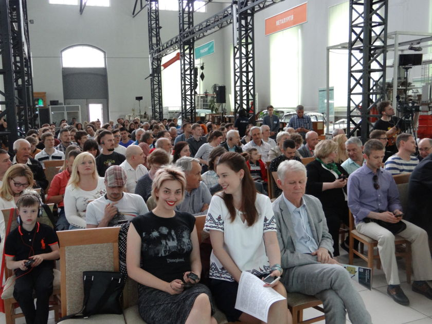 Excited attendees at a volunteer-run event in Ukraine