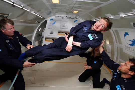 Stephen Hawking enjoys zero gravity