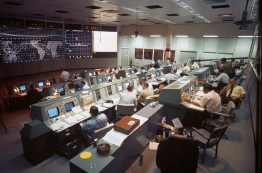 Mission control during Apollo 7