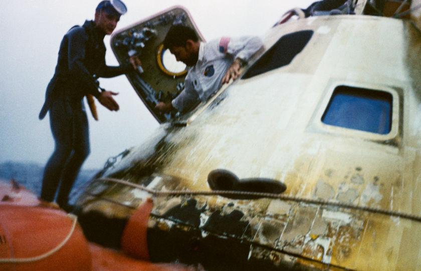 Apollo 7 capsule egress
