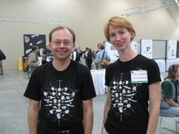 Robert French and Emily Lakdawalla in '23 spacecraft' T-shirts