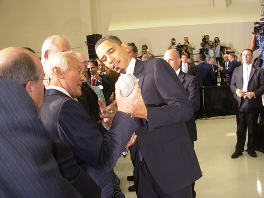 Buzz Aldrin and President Obama