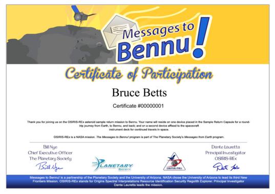 OSIRIS Messages to Bennu sample certificate