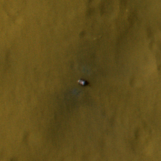 Curiosity as seen from HiRISE, 12 days after landing