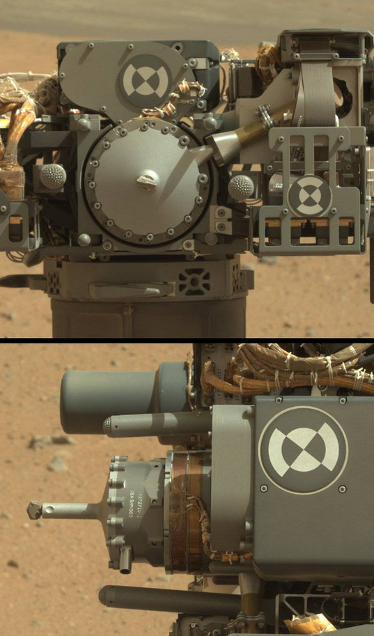 Curiosity's Turret: Drill front and side views