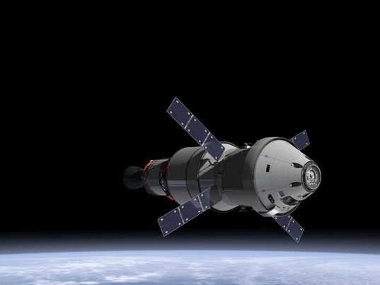 Orion with service module and upper stage