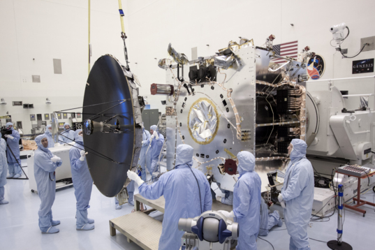 Attaching MAVEN's high-gain antenna, August 9, 2013