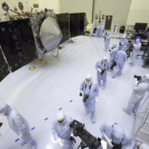 MAVEN with solar panels open in the clean room for the last time