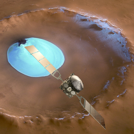 Mars Express over an ice-filled crater