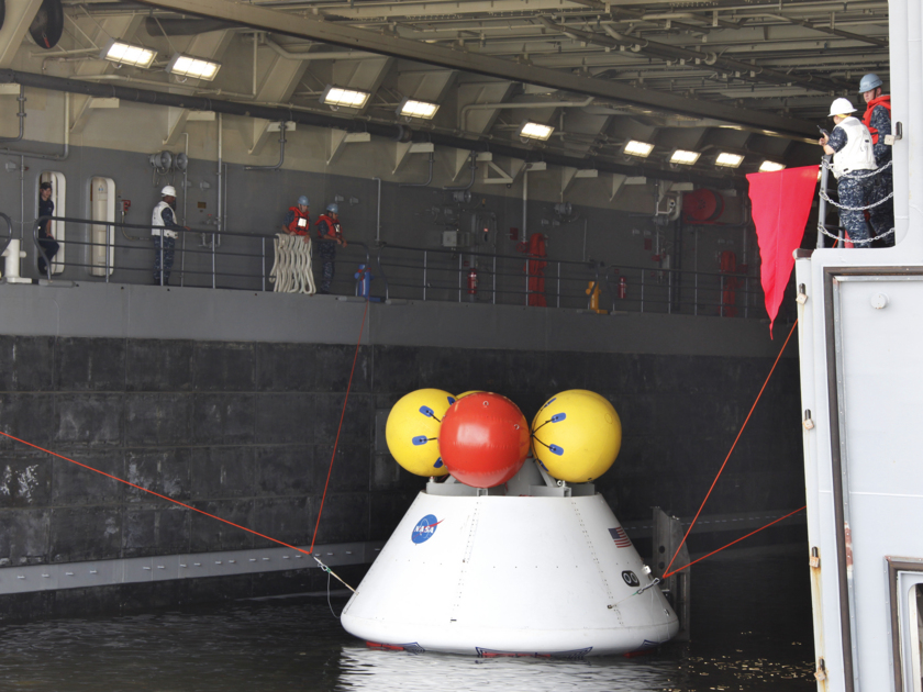 Orion inside the U.S.S. Arlington's flooded well deck