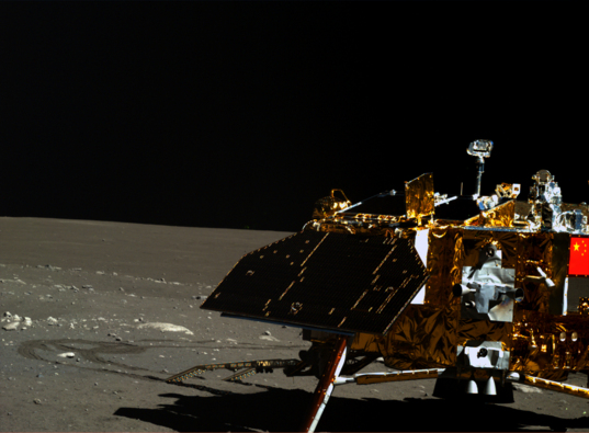 Yutu image of Chang'e 3 lander, lunar day 3 (right eye)