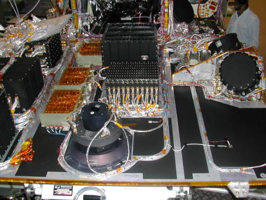 Interior view of Mars Express, seen during construction
