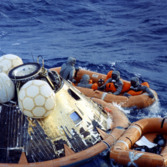 Apollo 11 after splashdown