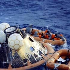 Apollo 11 after splashdown
