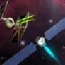 Artist's comparison of Dawn spacecraft and Star Wars TIE Fighter