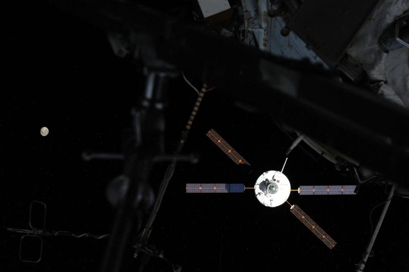 ATV-5 and a waning moon