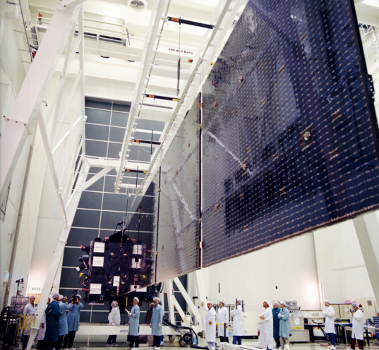 Rosetta's solar panels during deployment testing, May 2002