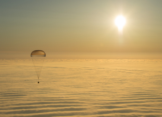 Soyuz, sun and fog