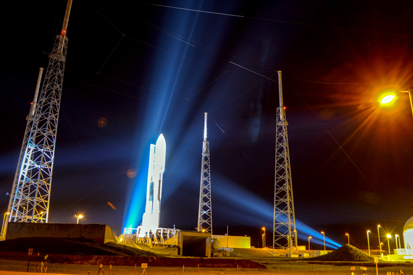 Atlas V at night