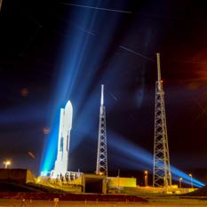 Atlas V at night