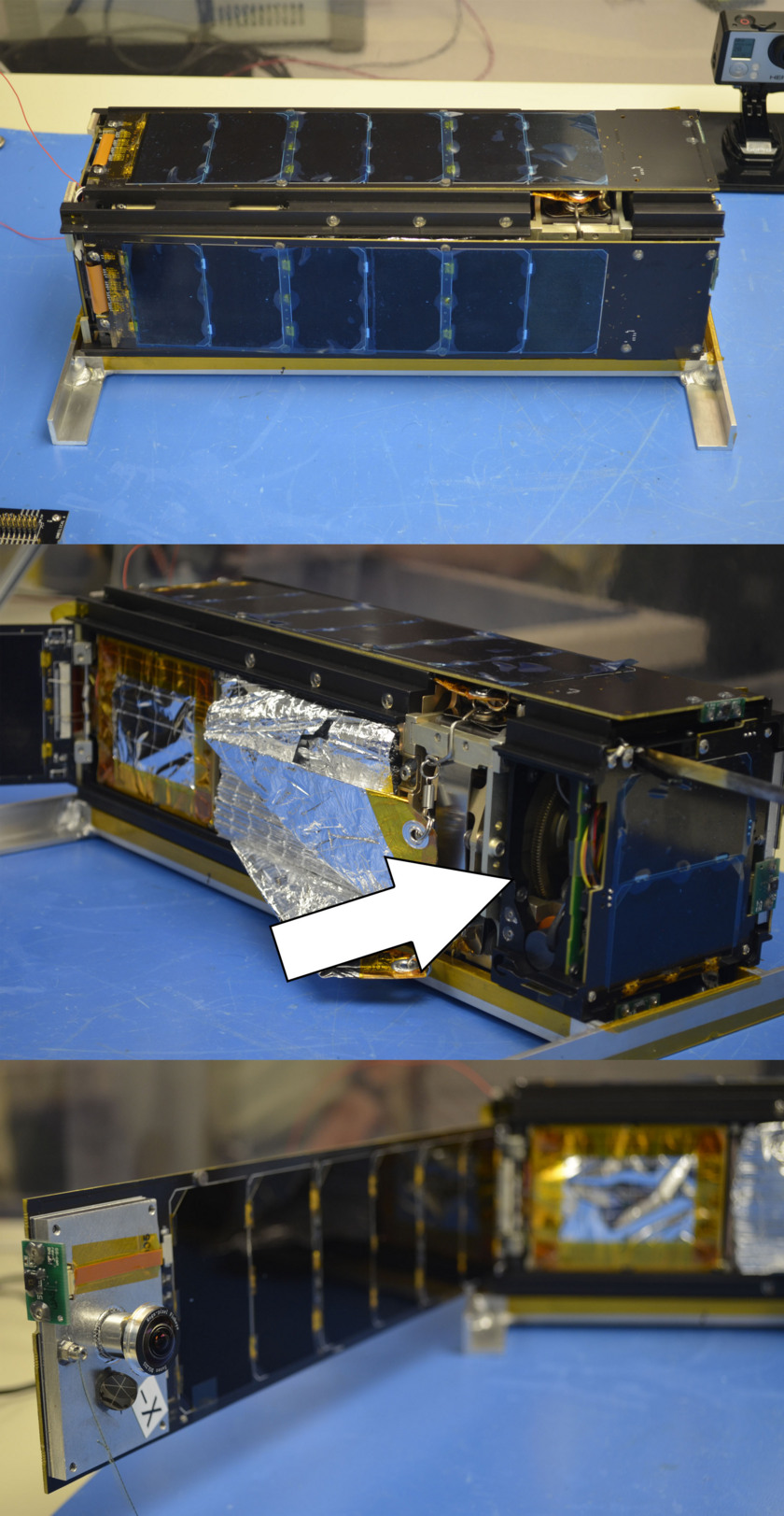 LightSail deployable solar panel and camera montage