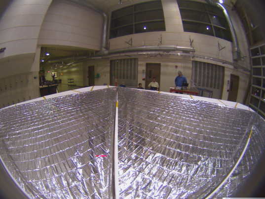 LightSail onboard camera image during ground testing