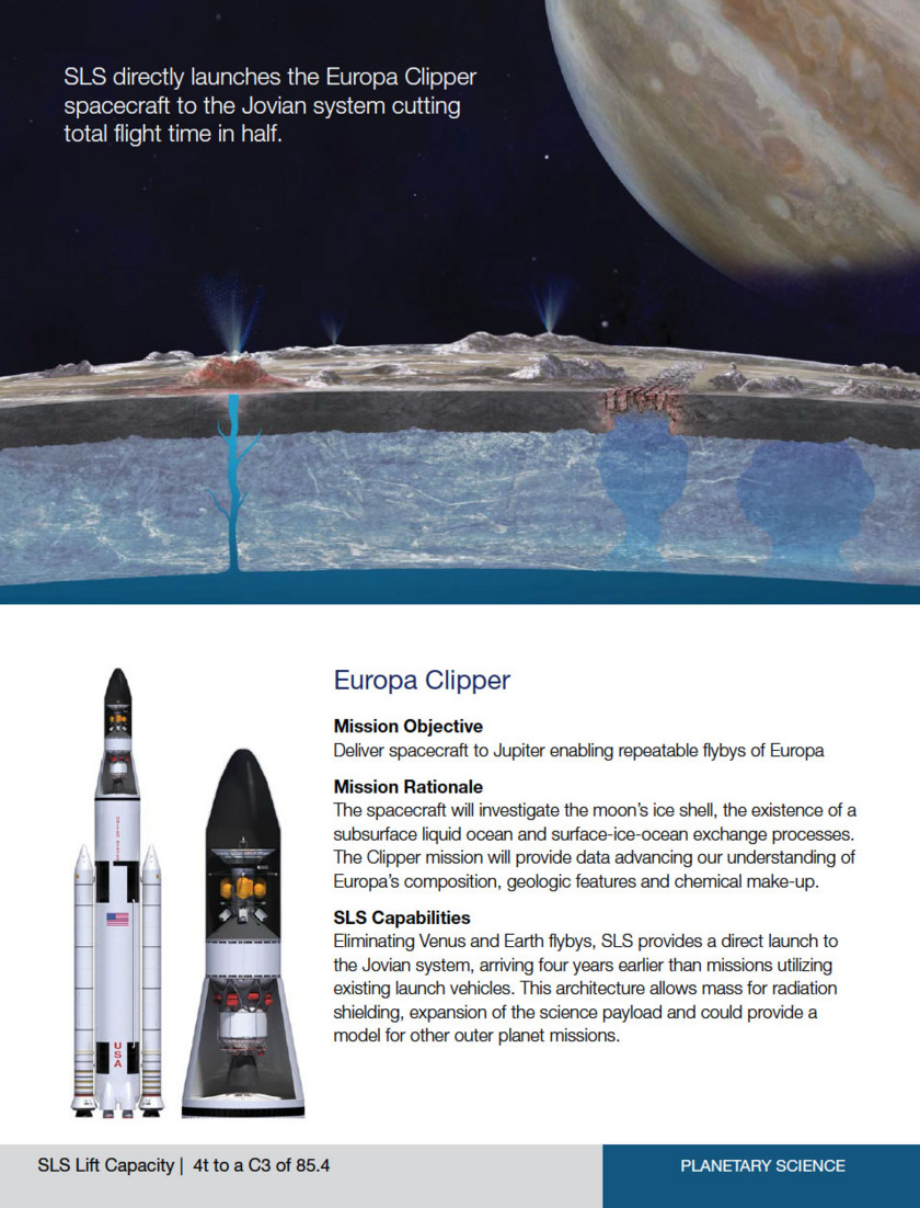 Boeing SLS Europa mission promotional placard