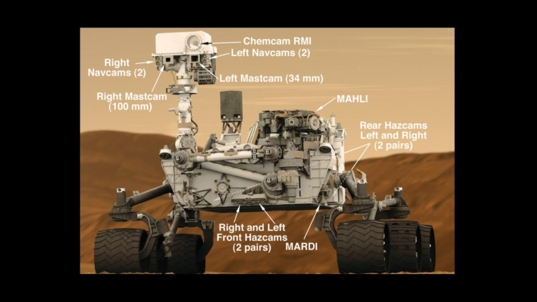 Navigation and hazard detection cameras on the Curiosity rover