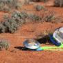 Hayabusa's sample return capsule sitting on the ground