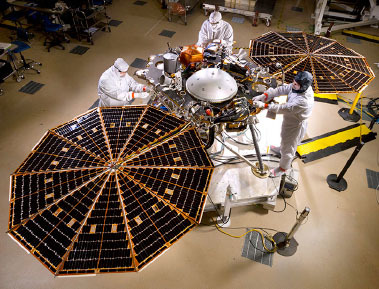 InSight lander in assembly