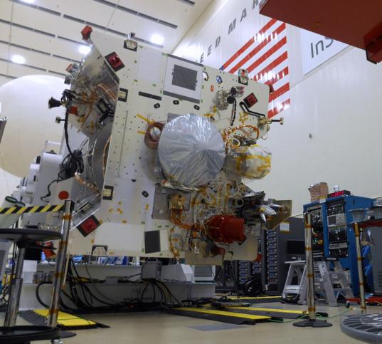 OSIRIS-REx on rotation fixture with SARA installed