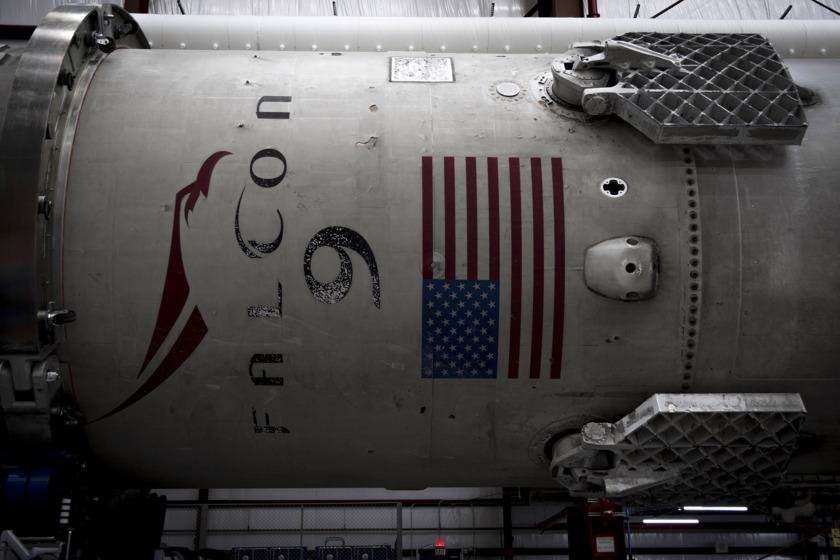 Recovered Falcon 9 first stage closeup