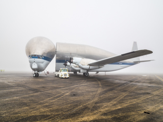 Super Guppy arrives in New Orleans to pick up Orion EM-1