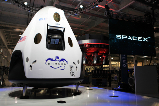 Mock up of the Dragon version 2 capsule for Earth orbital missions