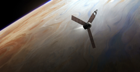 Juno during orbital insertion burn