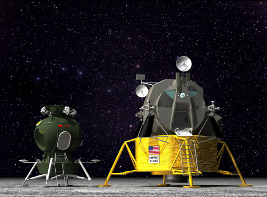 Scale rendering of the Soviet LK moon lander next to the U.S. Lunar Module
