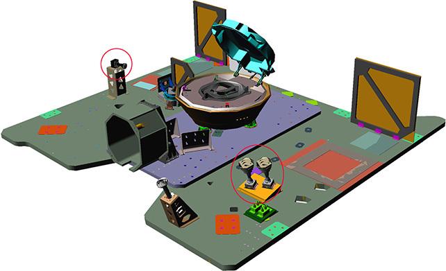 Locations of the OSIRIS-REx TAGCAMS camera heads