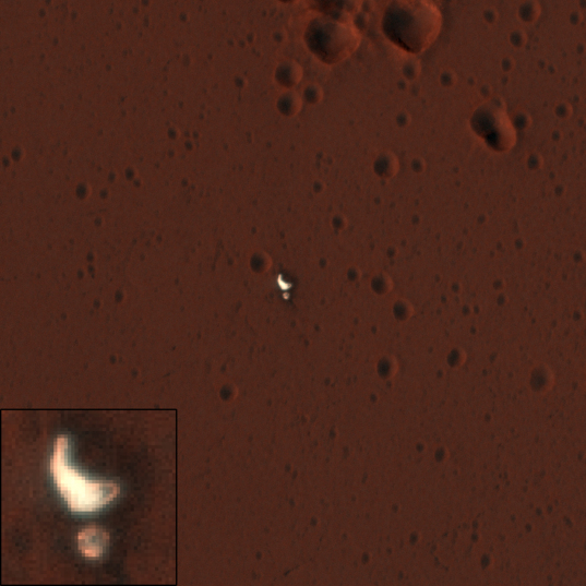 Schiaparelli backshell and parachute landing location from HiRISE in color