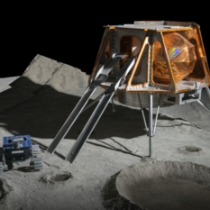 Artist's impression of the lander and rover on the lunar surface