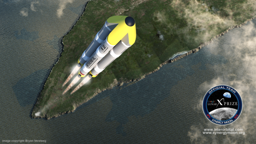 Artist's concept of IOS Neptune 5 rocket carrying Team SYNERGY MOON's Google Lunar X PRIZE spacecraft