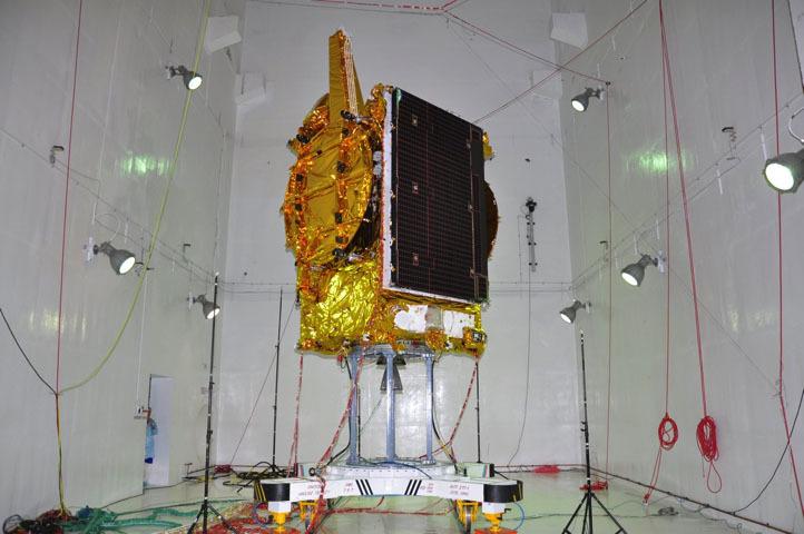 GSAT-19 experimental communications satellite undergoing pre-launch tests