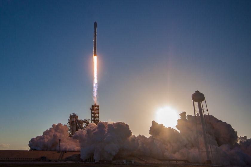 Falcon 9 sunset liftoff