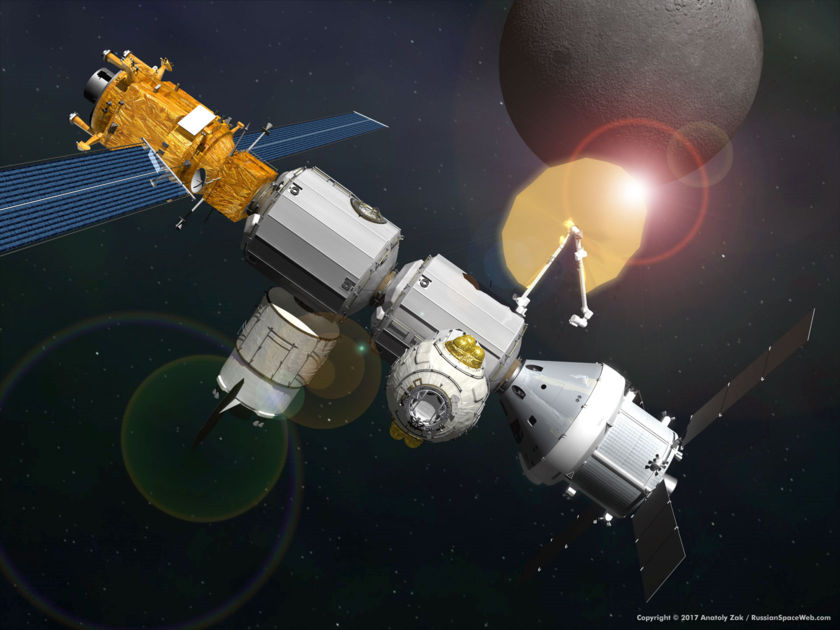 Artist's conception of Deep Space Gateway with solar sail