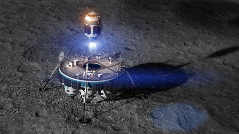 Artist concept of Moon Express MX-9 Sample Return Ascent